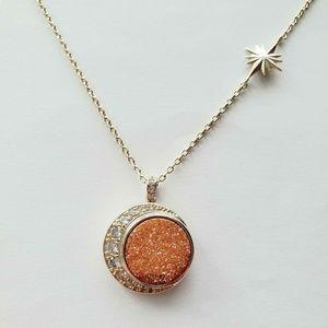 Melinda Maria Lunar Necklace Gold Champagne Druzy